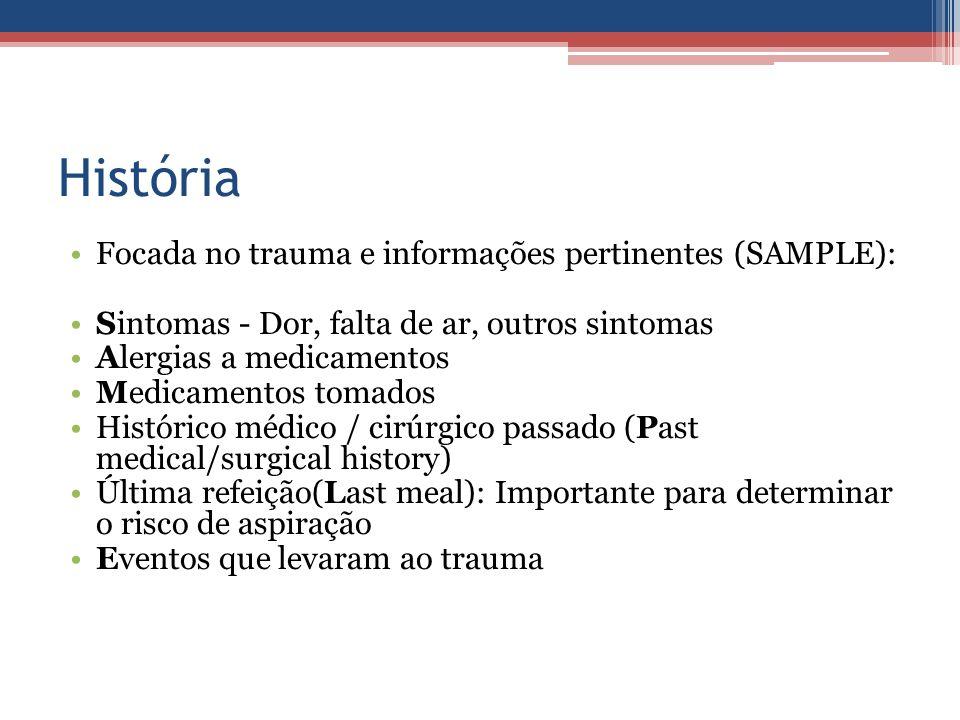 História Focada no trauma e informações pertinentes (SAMPLE):