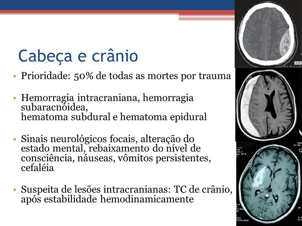 Cabeça e crânio Prioridade: 50% de todas as mortes por trauma