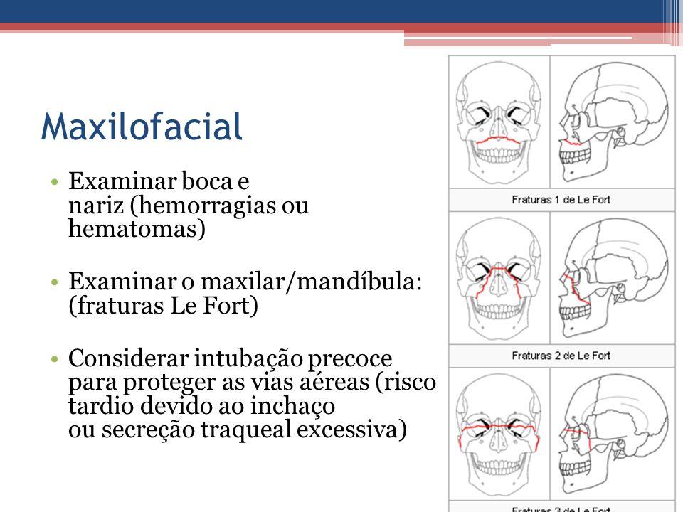 Maxilofacial Examinar boca e nariz (hemorragias ou hematomas)