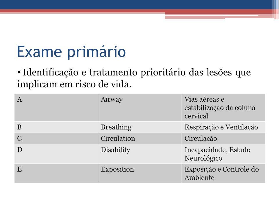 Exame primário Identificação e tratamento prioritário das lesões que implicam em risco de vida. A.