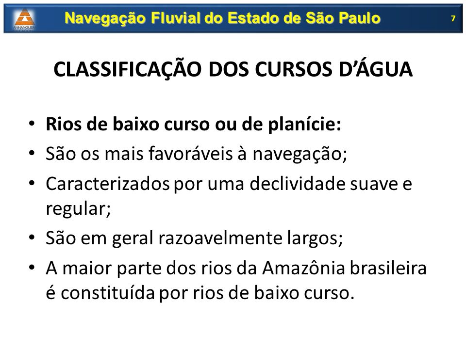 CLASSIFICAÇÃO DOS CURSOS D'ÁGUA