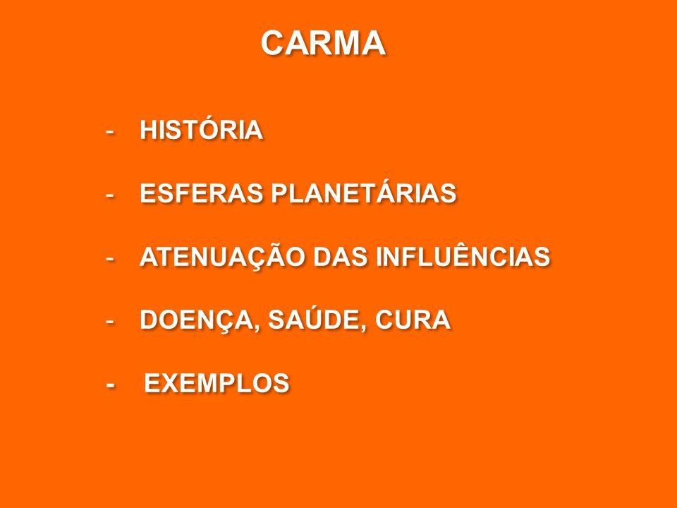 CARMA HISTÓRIA ESFERAS PLANETÁRIAS ATENUAÇÃO DAS INFLUÊNCIAS
