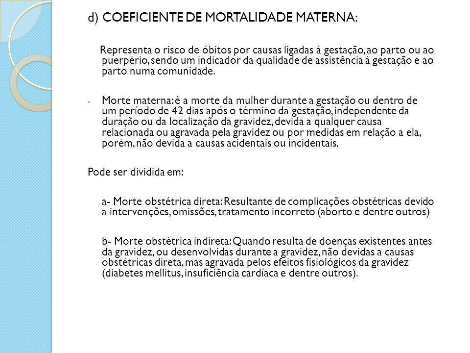 d) COEFICIENTE DE MORTALIDADE MATERNA: