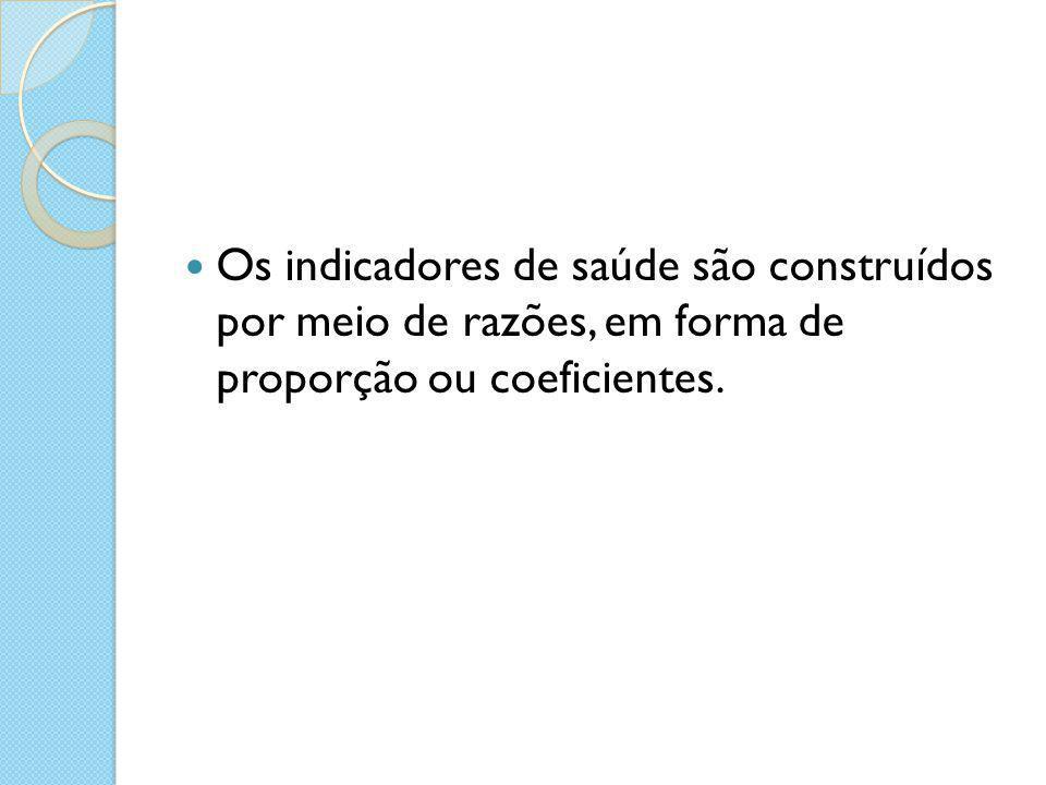 Os indicadores de saúde são construídos por meio de razões, em forma de proporção ou coeficientes.