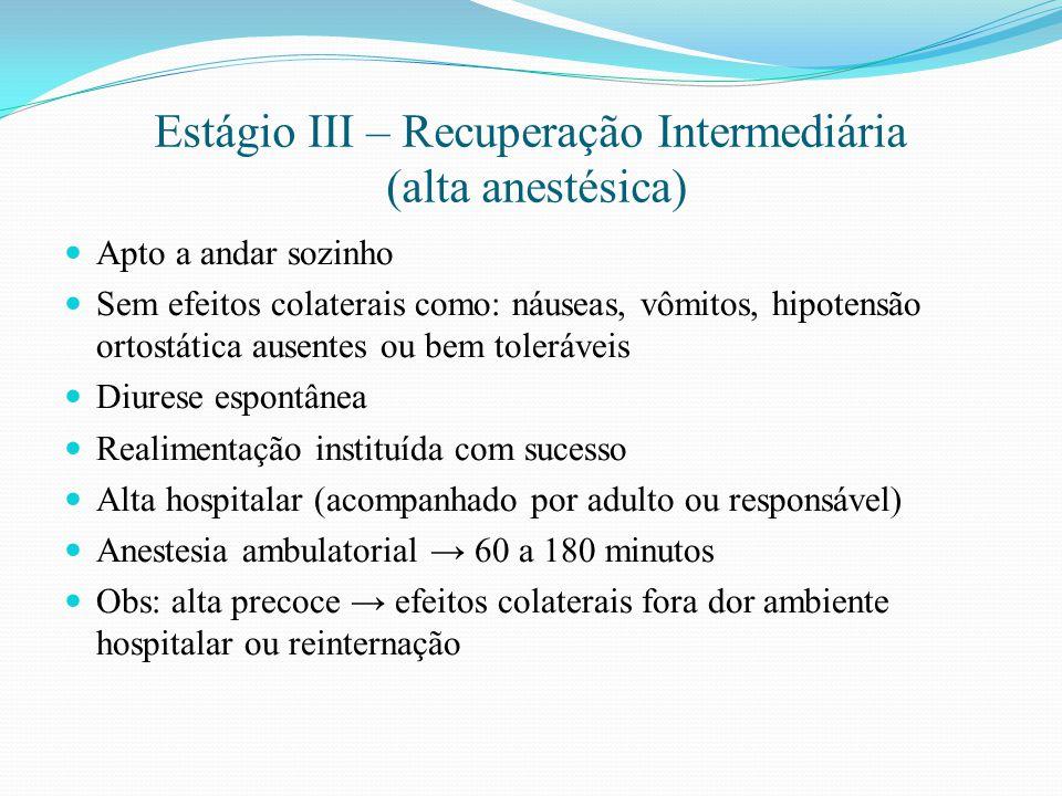 Estágio III – Recuperação Intermediária (alta anestésica)