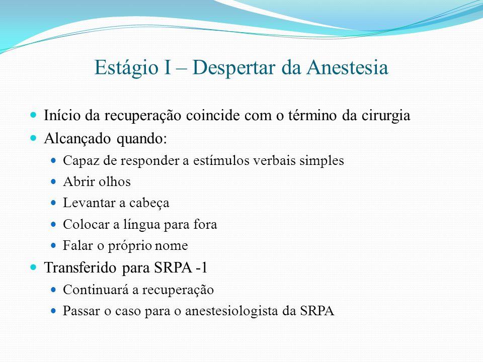 Estágio I – Despertar da Anestesia