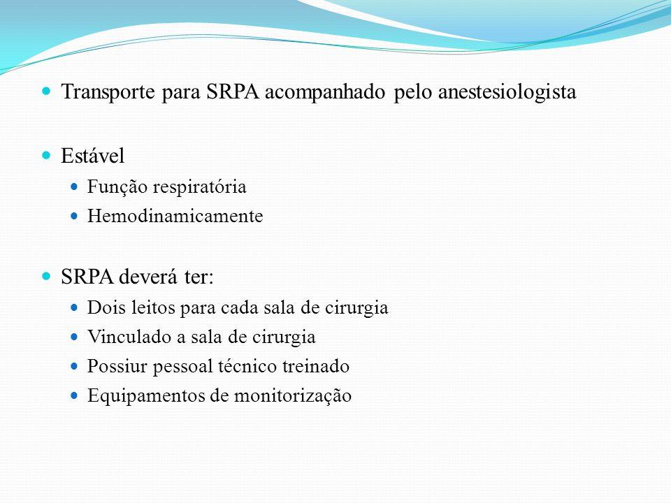 Transporte para SRPA acompanhado pelo anestesiologista Estável