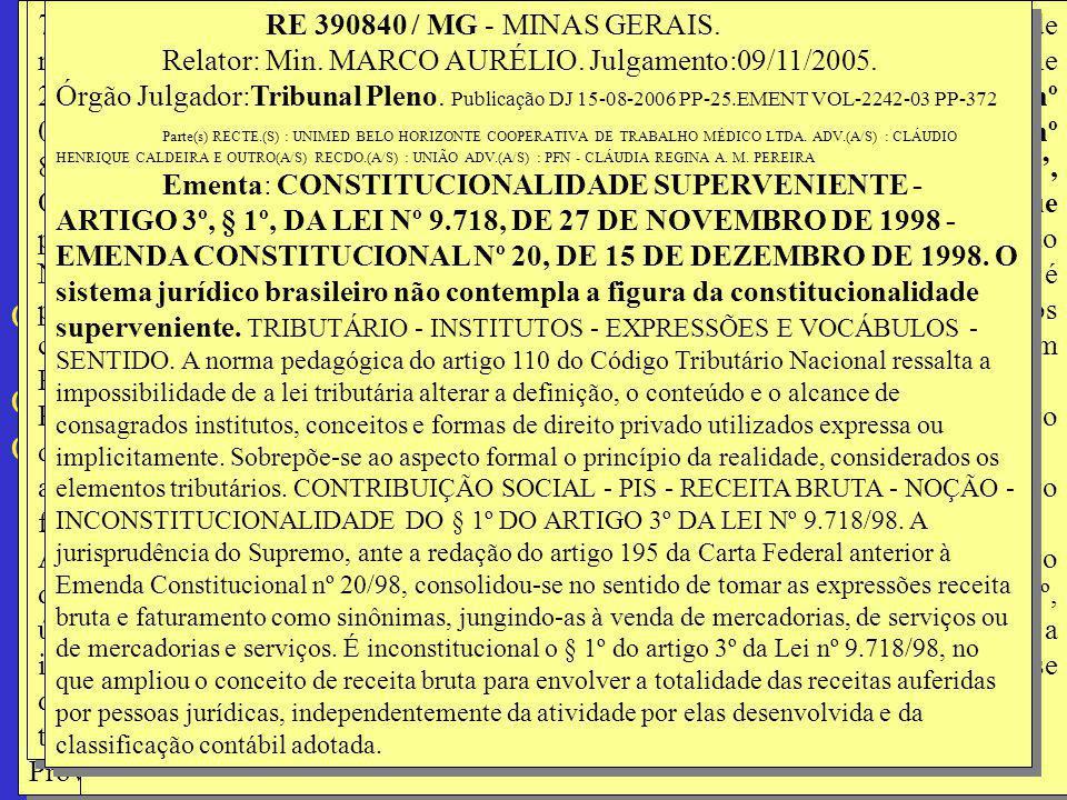 RE 390840 / MG - MINAS GERAIS. Relator: Min. MARCO AURÉLIO. Julgamento:09/11/2005. Órgão Julgador:Tribunal Pleno.