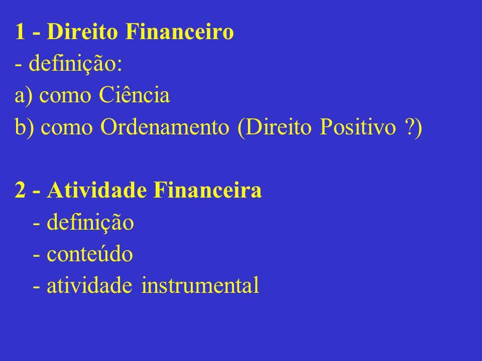 1 - Direito Financeiro - definição: a) como Ciência. b) como Ordenamento (Direito Positivo ) 2 - Atividade Financeira.