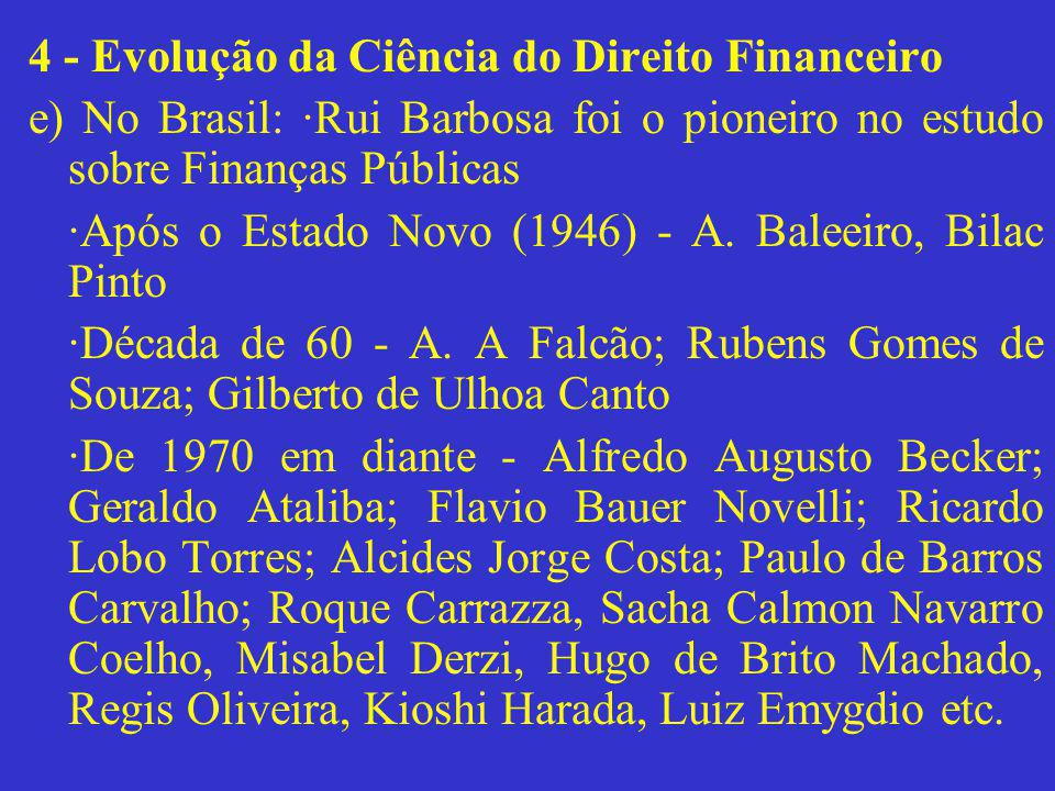 4 - Evolução da Ciência do Direito Financeiro