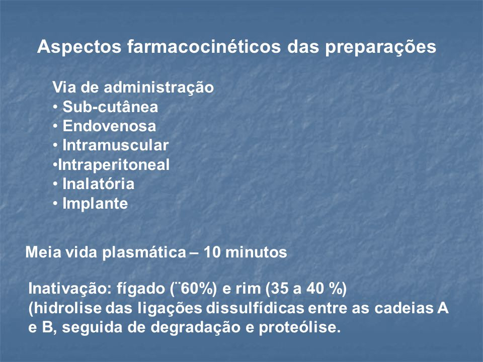 Aspectos farmacocinéticos das preparações