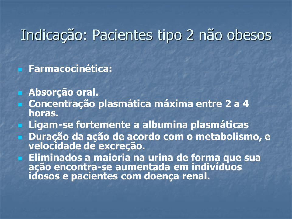 Indicação: Pacientes tipo 2 não obesos