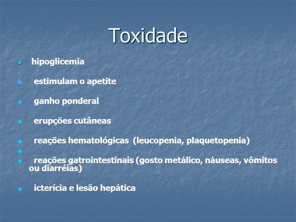 Toxidade hipoglicemia estimulam o apetite ganho ponderal
