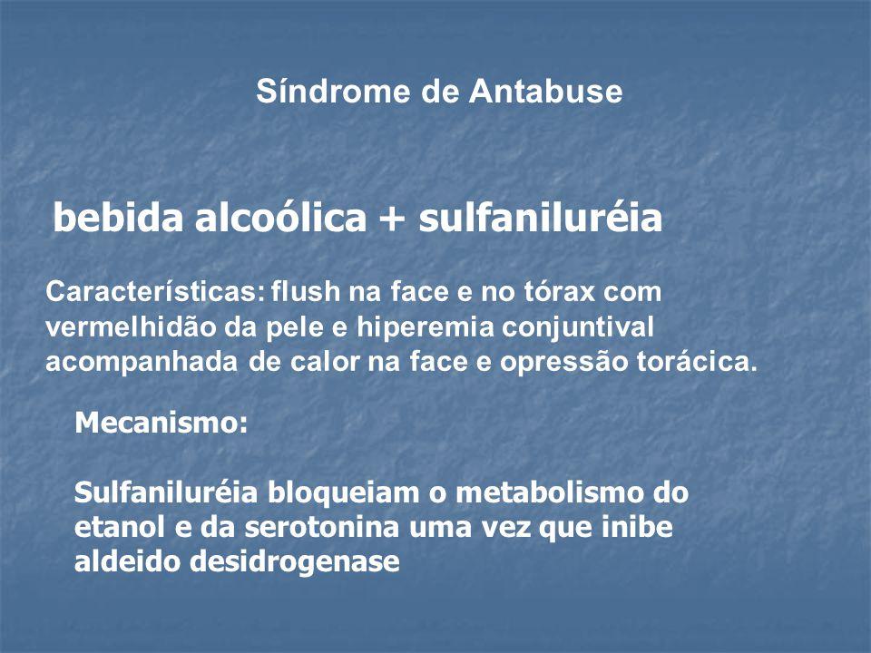 bebida alcoólica + sulfaniluréia