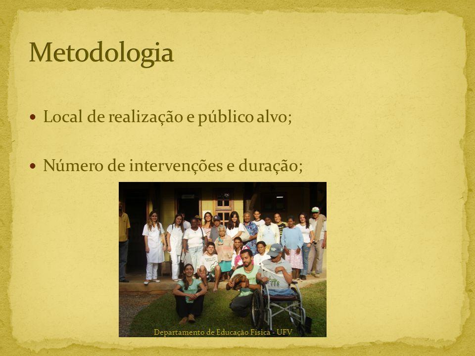 Metodologia Local de realização e público alvo;