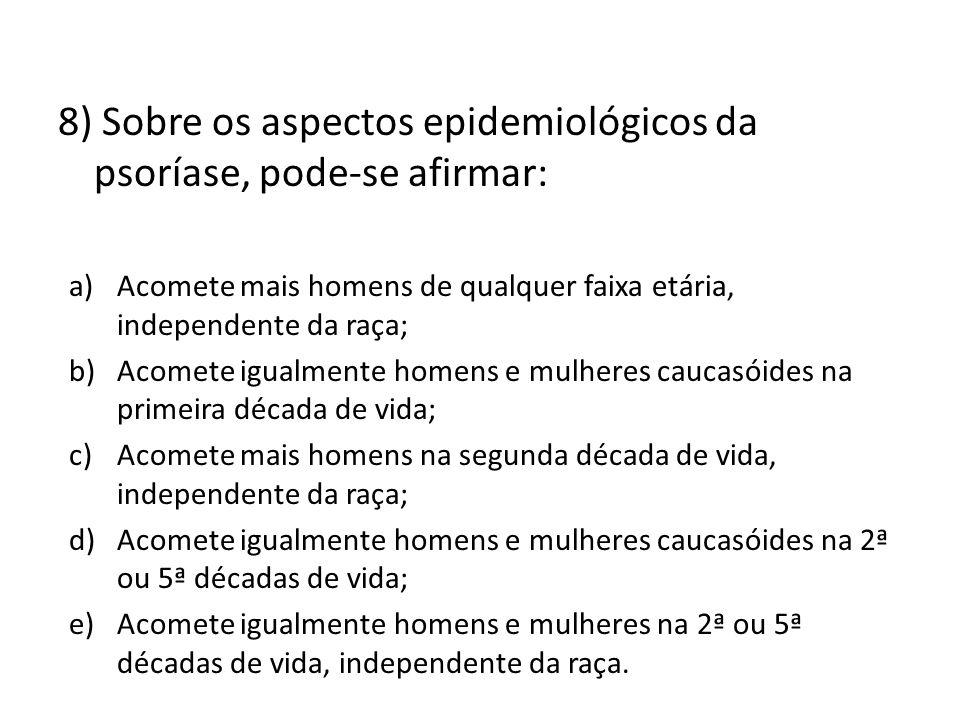 8) Sobre os aspectos epidemiológicos da psoríase, pode-se afirmar: