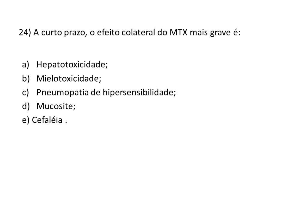 24) A curto prazo, o efeito colateral do MTX mais grave é: