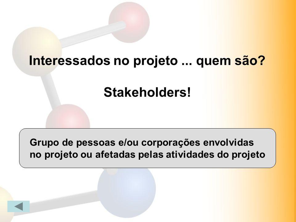 Interessados no projeto ... quem são Stakeholders!