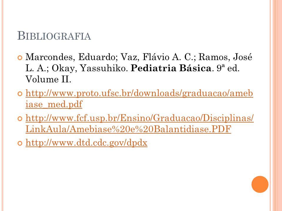 Bibliografia Marcondes, Eduardo; Vaz, Flávio A. C.; Ramos, José L. A.; Okay, Yassuhiko. Pediatria Básica. 9ª ed. Volume II.
