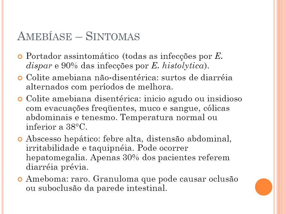 Amebíase – Sintomas Portador assintomático (todas as infecções por E. dispar e 90% das infecções por E. histolytica).