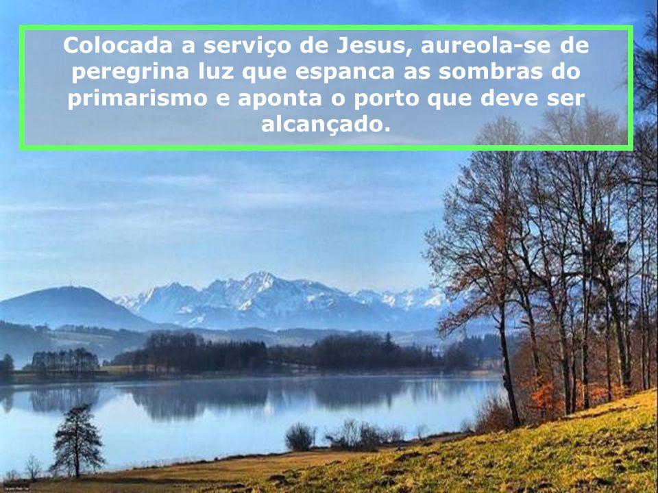 Colocada a serviço de Jesus, aureola-se de peregrina luz que espanca as sombras do primarismo e aponta o porto que deve ser alcançado.