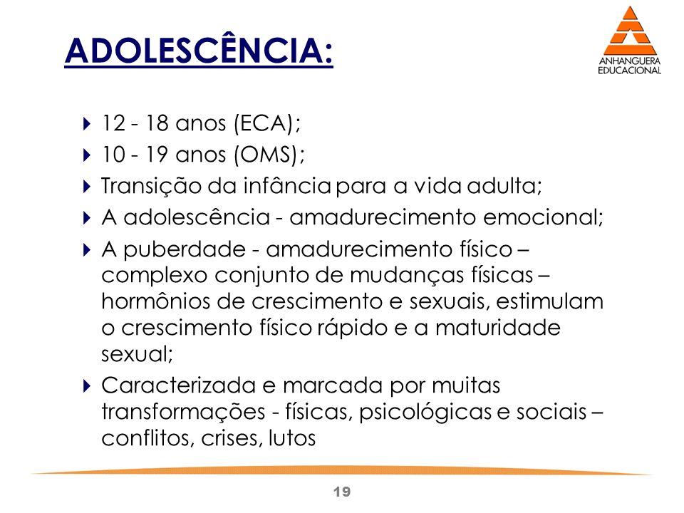ADOLESCÊNCIA: 12 - 18 anos (ECA); 10 - 19 anos (OMS);