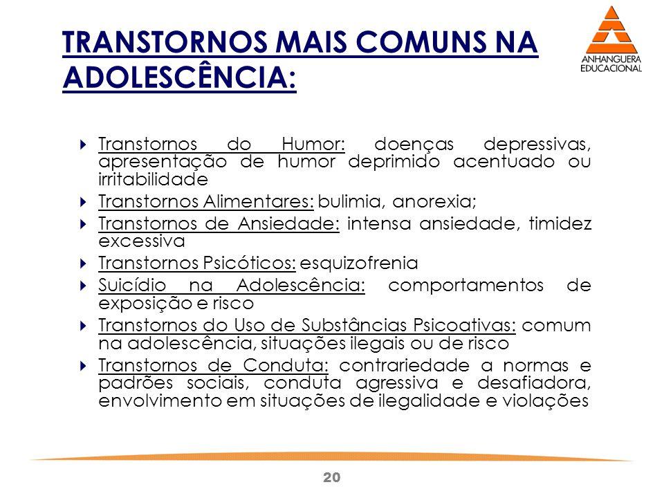 TRANSTORNOS MAIS COMUNS NA ADOLESCÊNCIA: