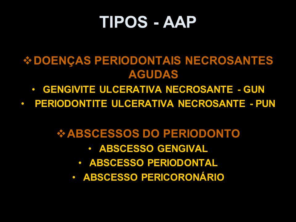 TIPOS - AAP DOENÇAS PERIODONTAIS NECROSANTES AGUDAS