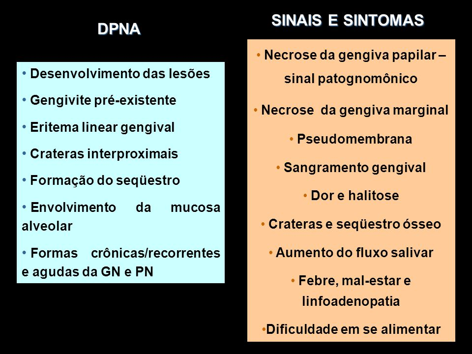 SINAIS E SINTOMAS DPNA. Necrose da gengiva papilar – sinal patognomônico. Necrose da gengiva marginal.