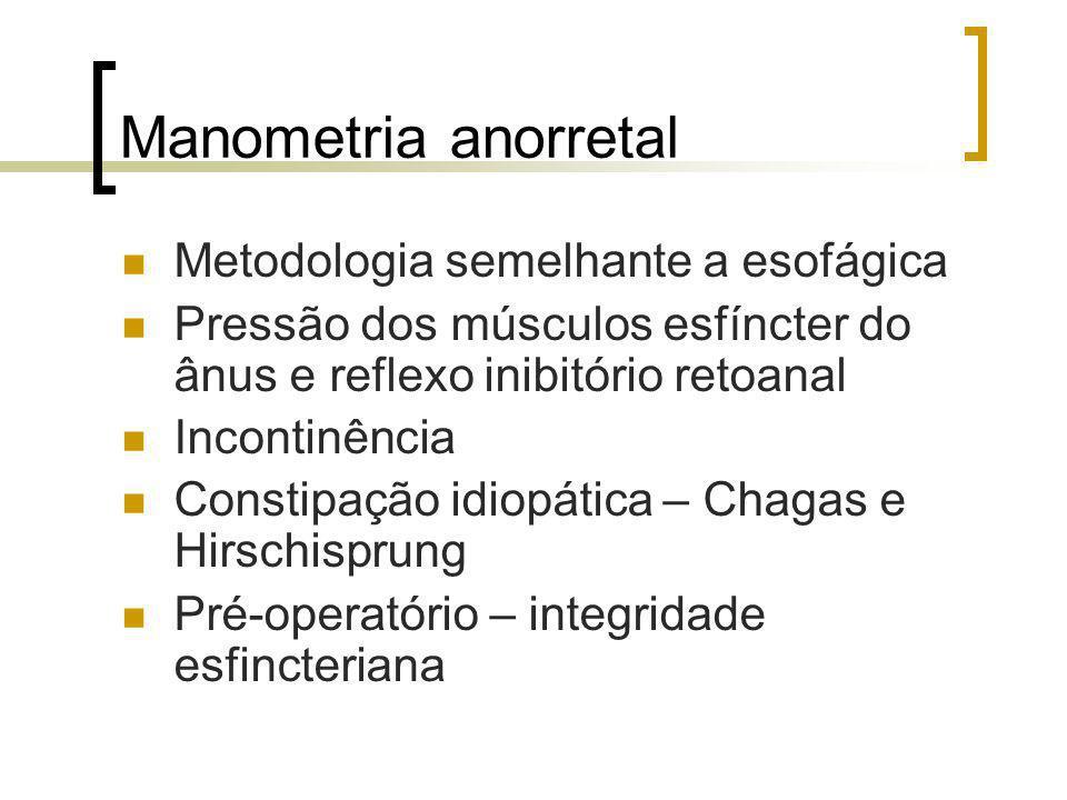 Manometria anorretal Metodologia semelhante a esofágica