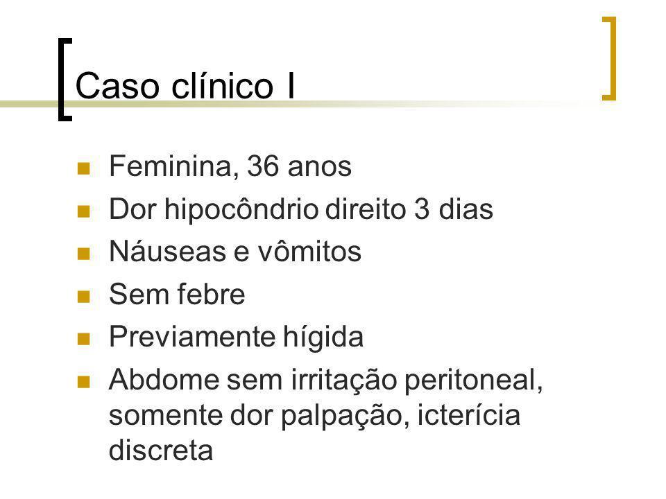 Caso clínico I Feminina, 36 anos Dor hipocôndrio direito 3 dias