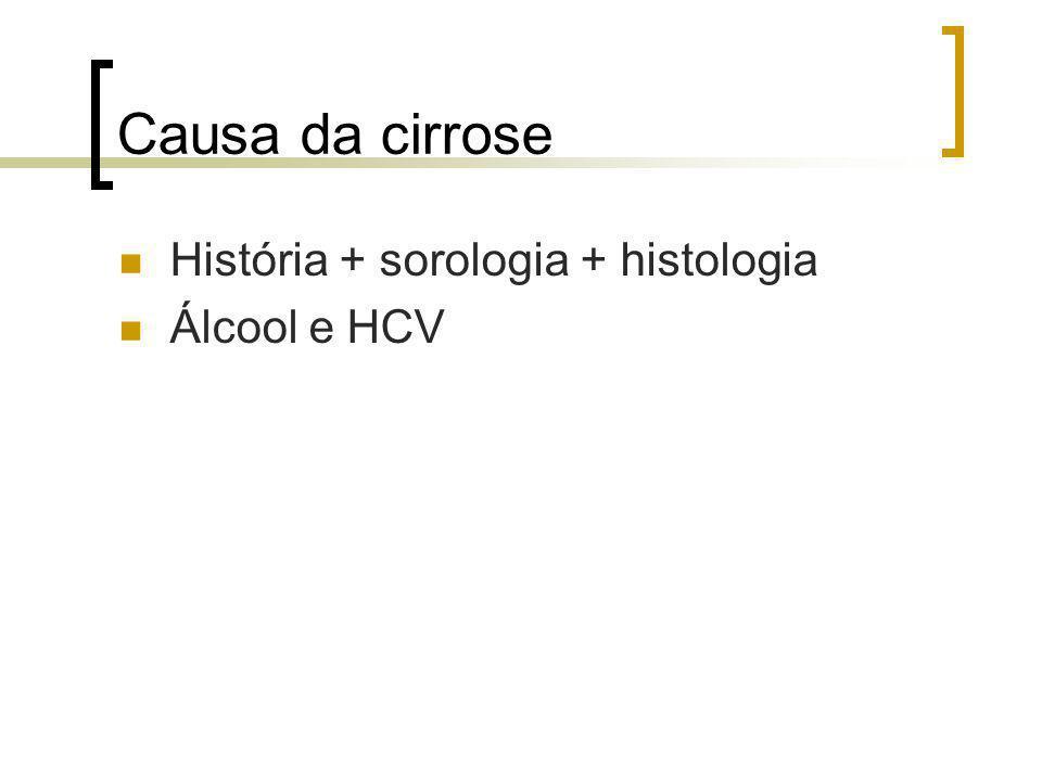 Causa da cirrose História + sorologia + histologia Álcool e HCV