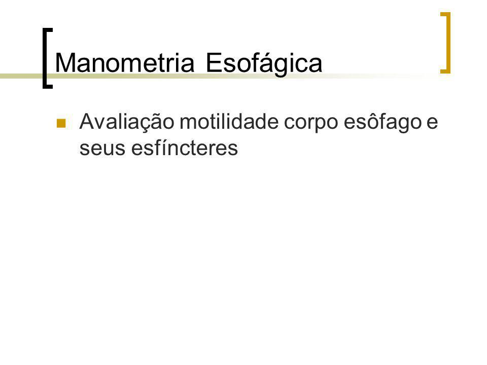 Manometria Esofágica Avaliação motilidade corpo esôfago e seus esfíncteres