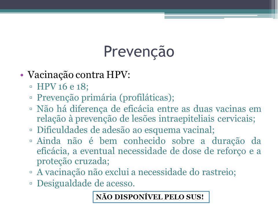 Prevenção Vacinação contra HPV: HPV 16 e 18;