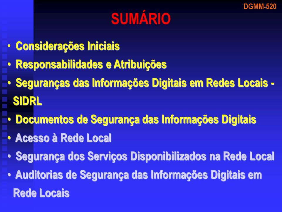 SUMÁRIO Considerações Iniciais Responsabilidades e Atribuições
