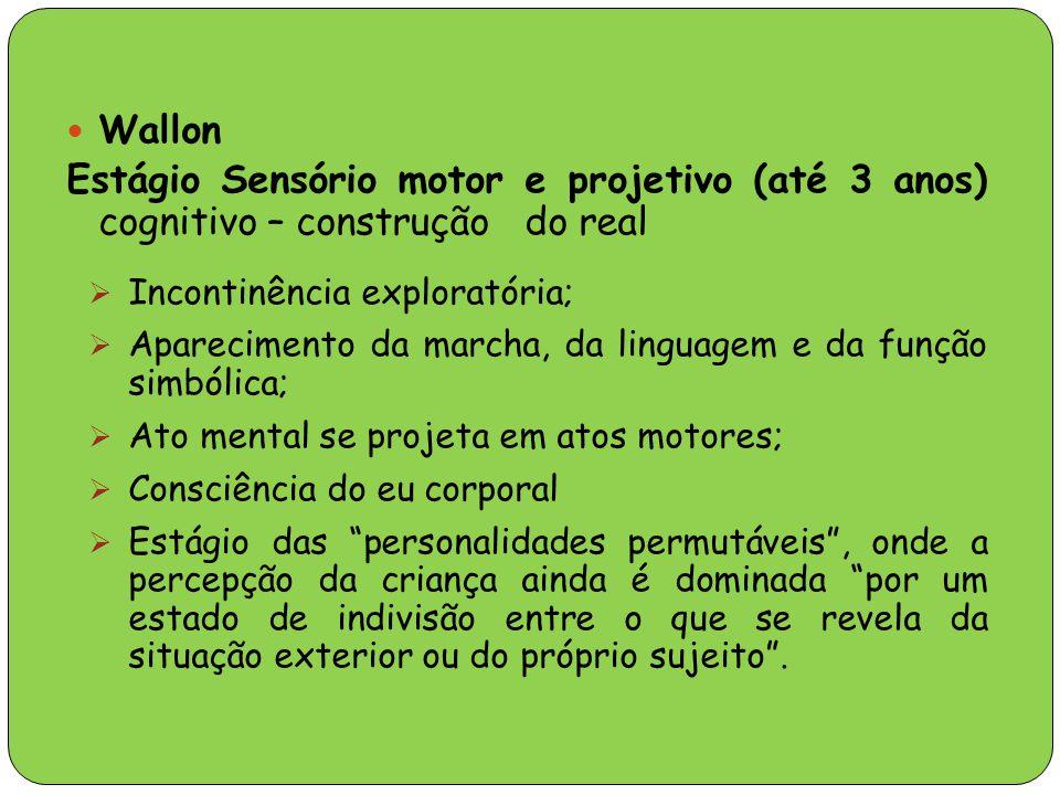 Wallon Estágio Sensório motor e projetivo (até 3 anos) cognitivo – construção do real. Incontinência exploratória;