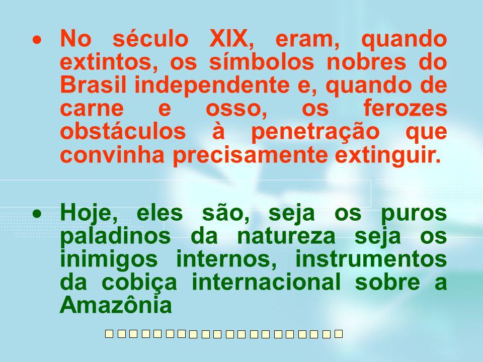 No século XIX, eram, quando extintos, os símbolos nobres do Brasil independente e, quando de carne e osso, os ferozes obstáculos à penetração que convinha precisamente extinguir.