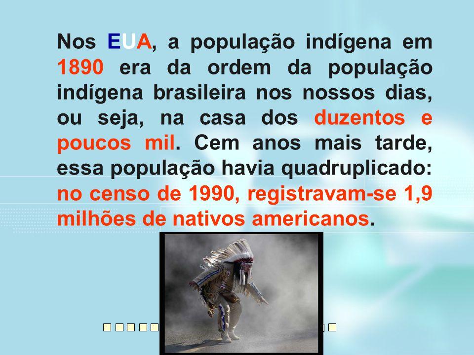Nos EUA, a população indígena em 1890 era da ordem da população indígena brasileira nos nossos dias, ou seja, na casa dos duzentos e poucos mil.