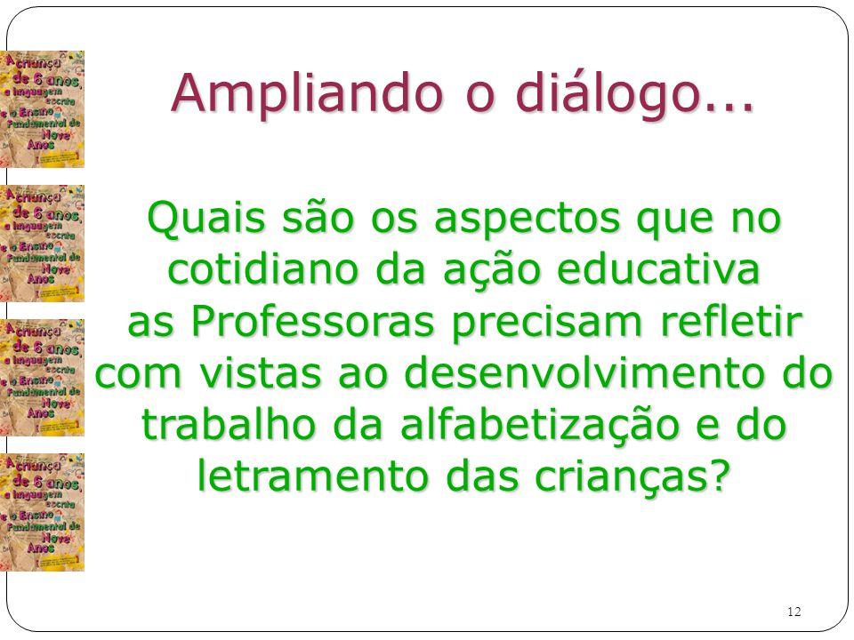 Ampliando o diálogo... Quais são os aspectos que no cotidiano da ação educativa. as Professoras precisam refletir.