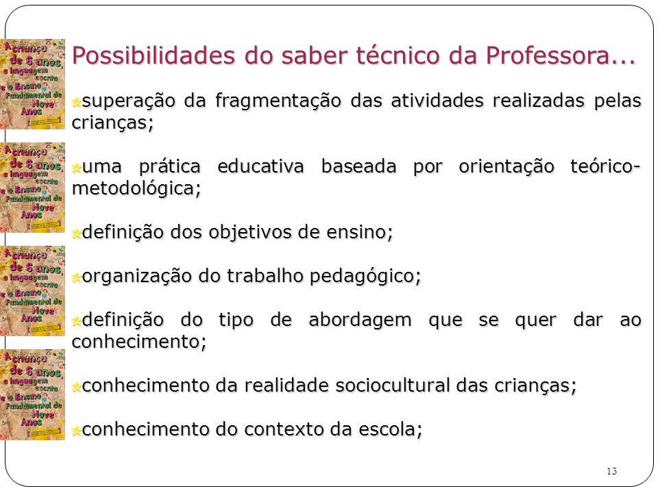 Possibilidades do saber técnico da Professora...