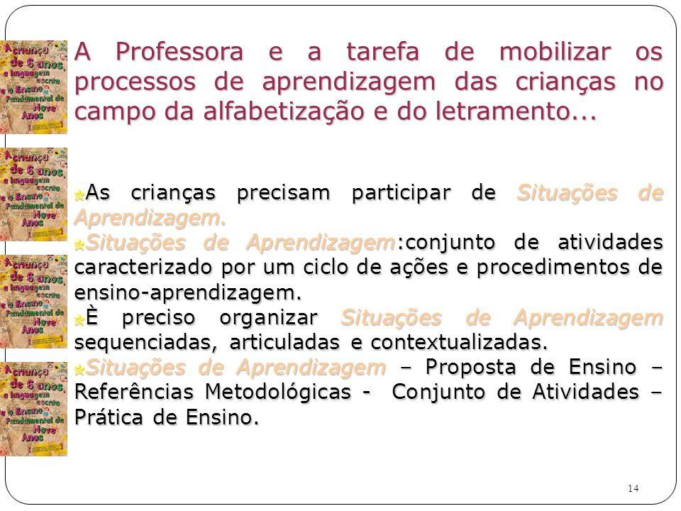 A Professora e a tarefa de mobilizar os processos de aprendizagem das crianças no campo da alfabetização e do letramento...