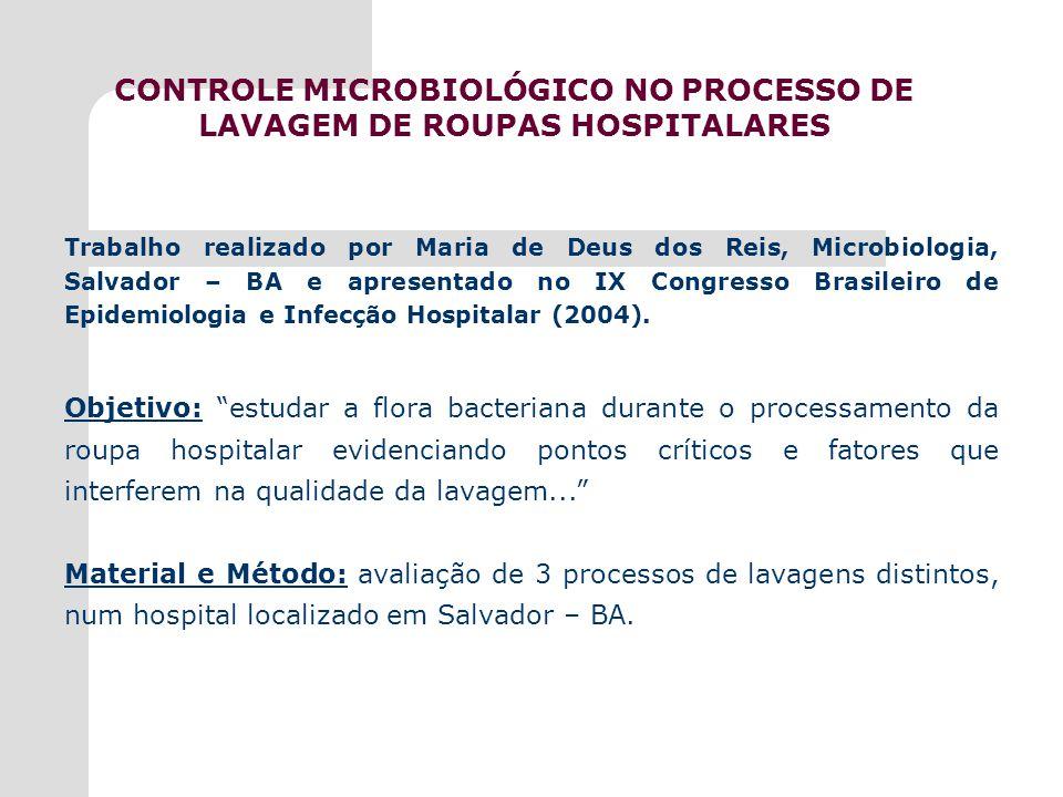 CONTROLE MICROBIOLÓGICO NO PROCESSO DE LAVAGEM DE ROUPAS HOSPITALARES
