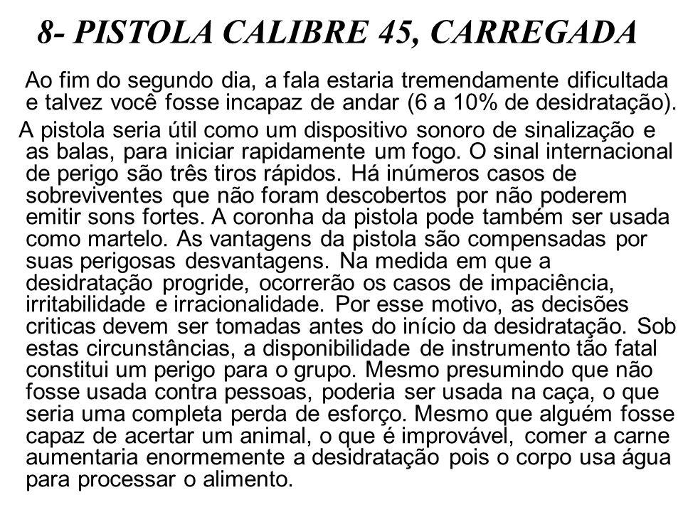 8- PISTOLA CALIBRE 45, CARREGADA