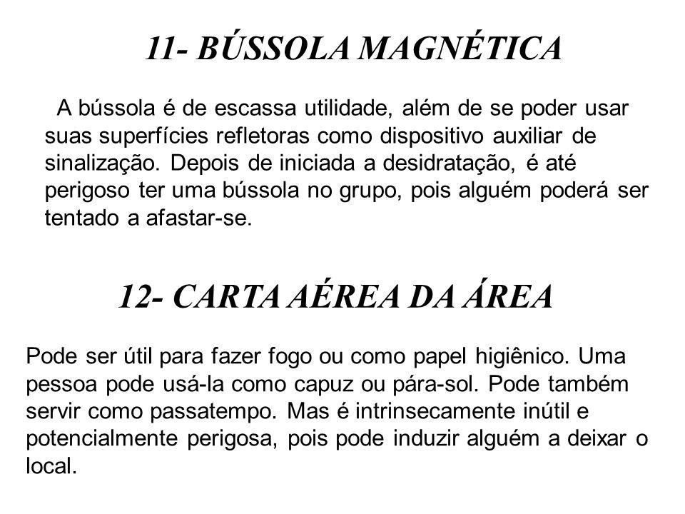 11- BÚSSOLA MAGNÉTICA 12- CARTA AÉREA DA ÁREA