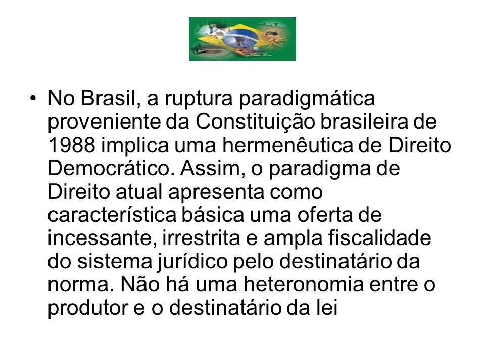 No Brasil, a ruptura paradigmática proveniente da Constituição brasileira de 1988 implica uma hermenêutica de Direito Democrático.