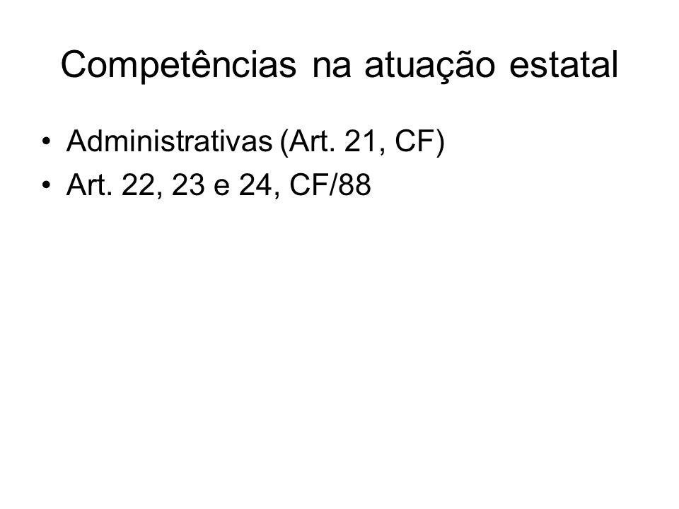 Competências na atuação estatal