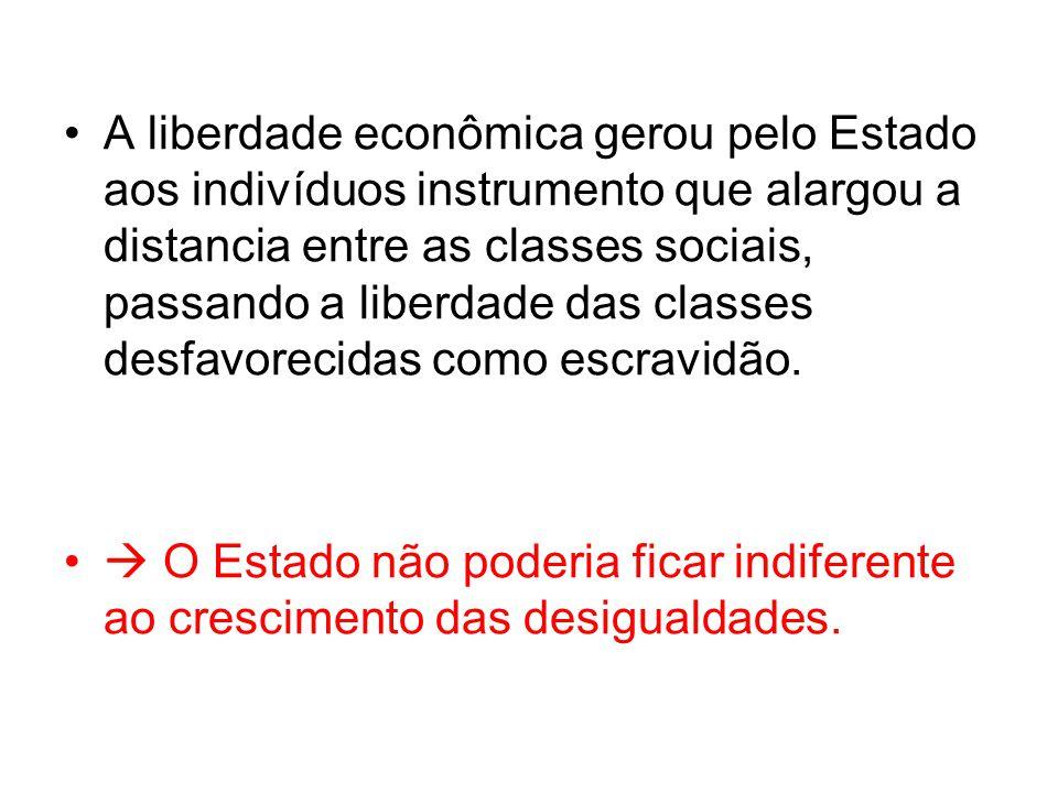 A liberdade econômica gerou pelo Estado aos indivíduos instrumento que alargou a distancia entre as classes sociais, passando a liberdade das classes desfavorecidas como escravidão.