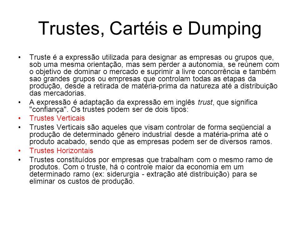 Trustes, Cartéis e Dumping