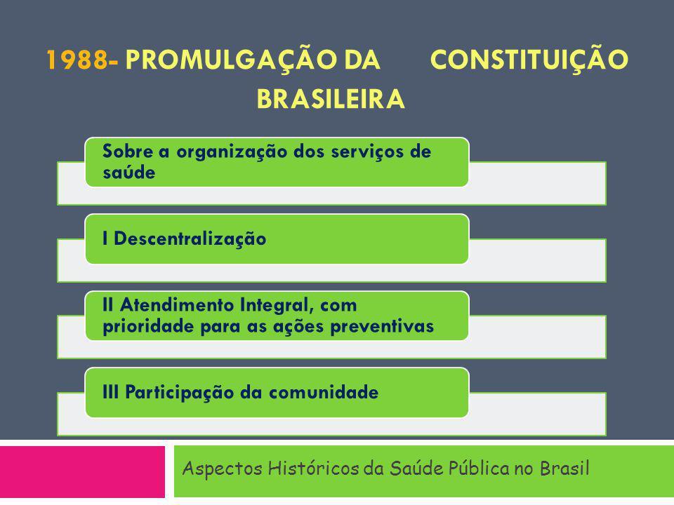 1988- Promulgação da Constituição Brasileira