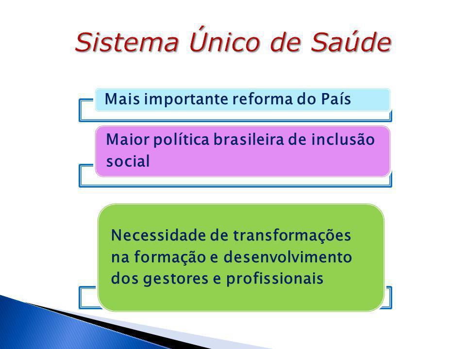 Sistema Único de Saúde Mais importante reforma do País. Maior política brasileira de inclusão social.